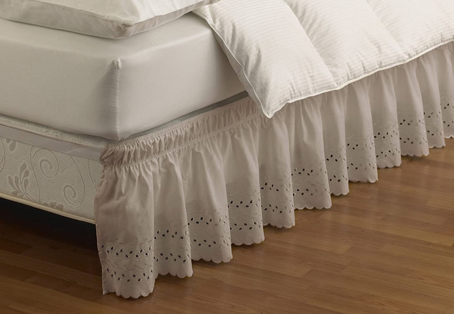 Easy Fit Wrap Around Eyelet Ruffled Bed Skirt, Twin/Full, Camel Ellery Homestyles 11578BEDDTFUCML