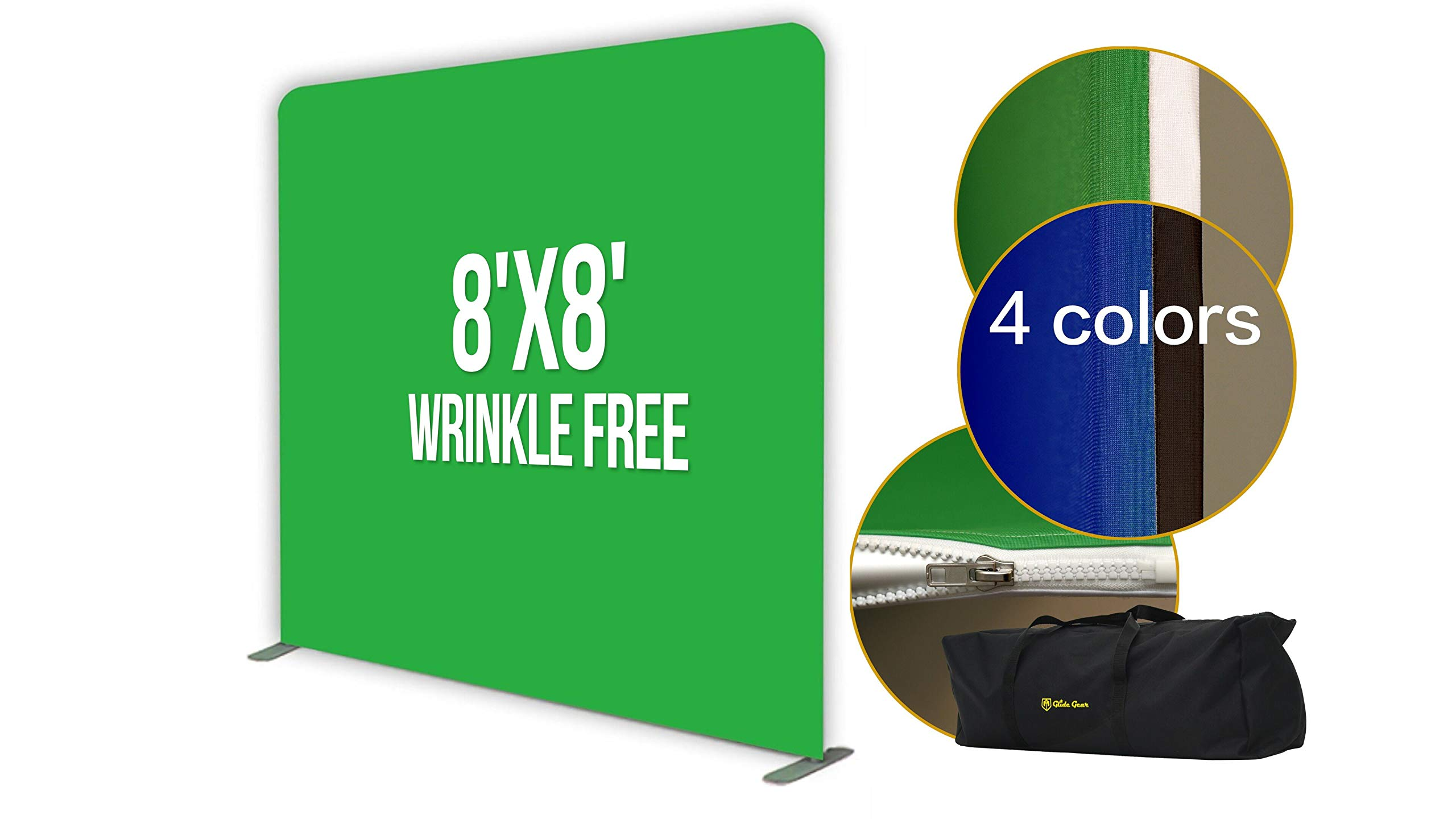 Glide Gear 8x8 Gaming Photography Video Green Screen Wrinkle Free Backdrop 4X Colors: Black/Blue/Green Chromakey/White with Collapsible Stand by Glide Gear