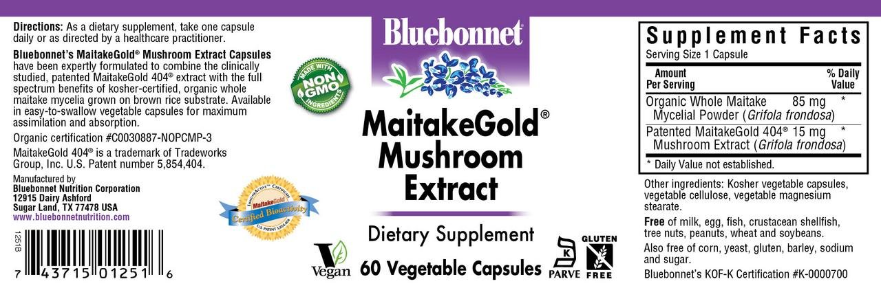 Bluebonnet Nutrition Maitakegold Mushroom Extract, 60 Count