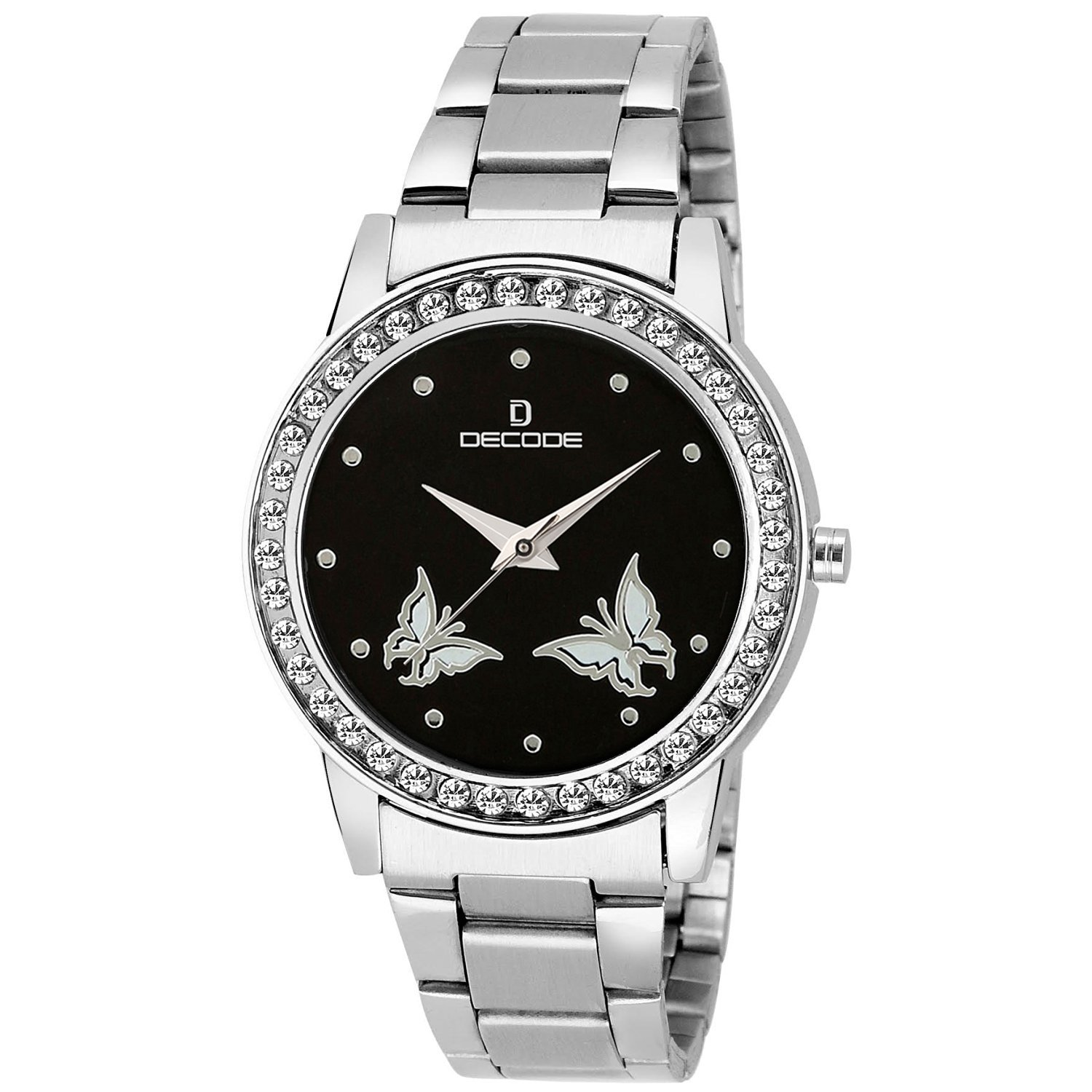 Decode Analogue Black Dial Women's & Girl's Watch -Ladies Crystal Studded  21-030 Black