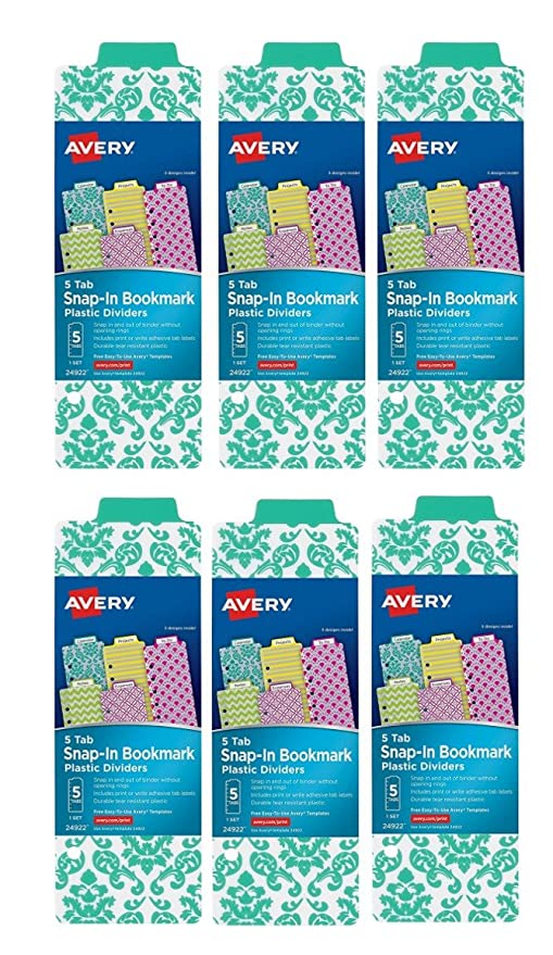 amazon com avery mini snap in plastic bookmark dividers 30 tabs