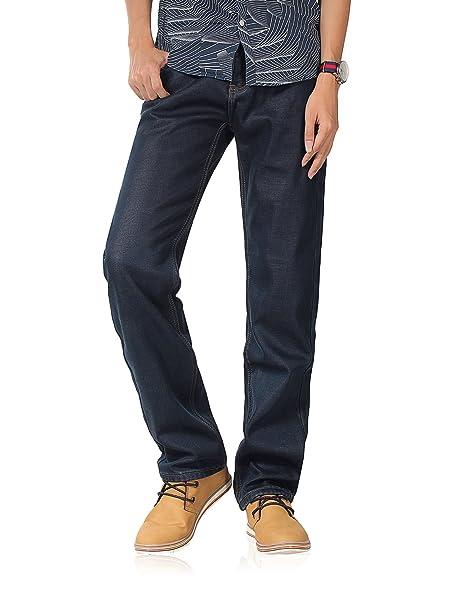 Demon&Hunter Vaqueros corte recto Jeans cálido para Hombre DH8001