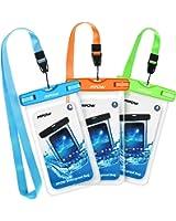 Mpow Waterproof Case, New Type PVC Waterproof Phone Case, Universal Dry Bag for iPhone8/8 Plus/7/7 Plus/ Galaxy/ Google Pixel/ LG/ HTC (3-Pack Blue Orange Green)