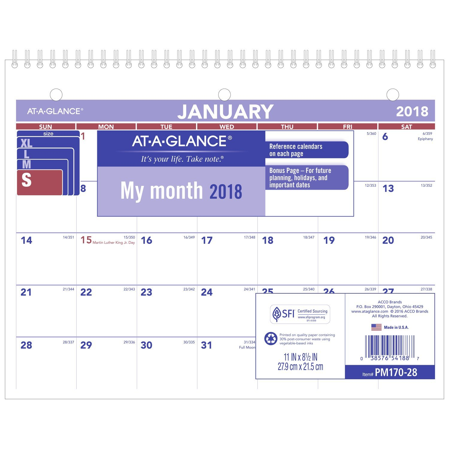 """Amazon.com : At-A-Glance PM17028-18 Monthly Desk/Wall Calendar, January  2018 - December 2018, 8-1/2"""" x 11"""", Wirebound (PM17028) : Office Products"""