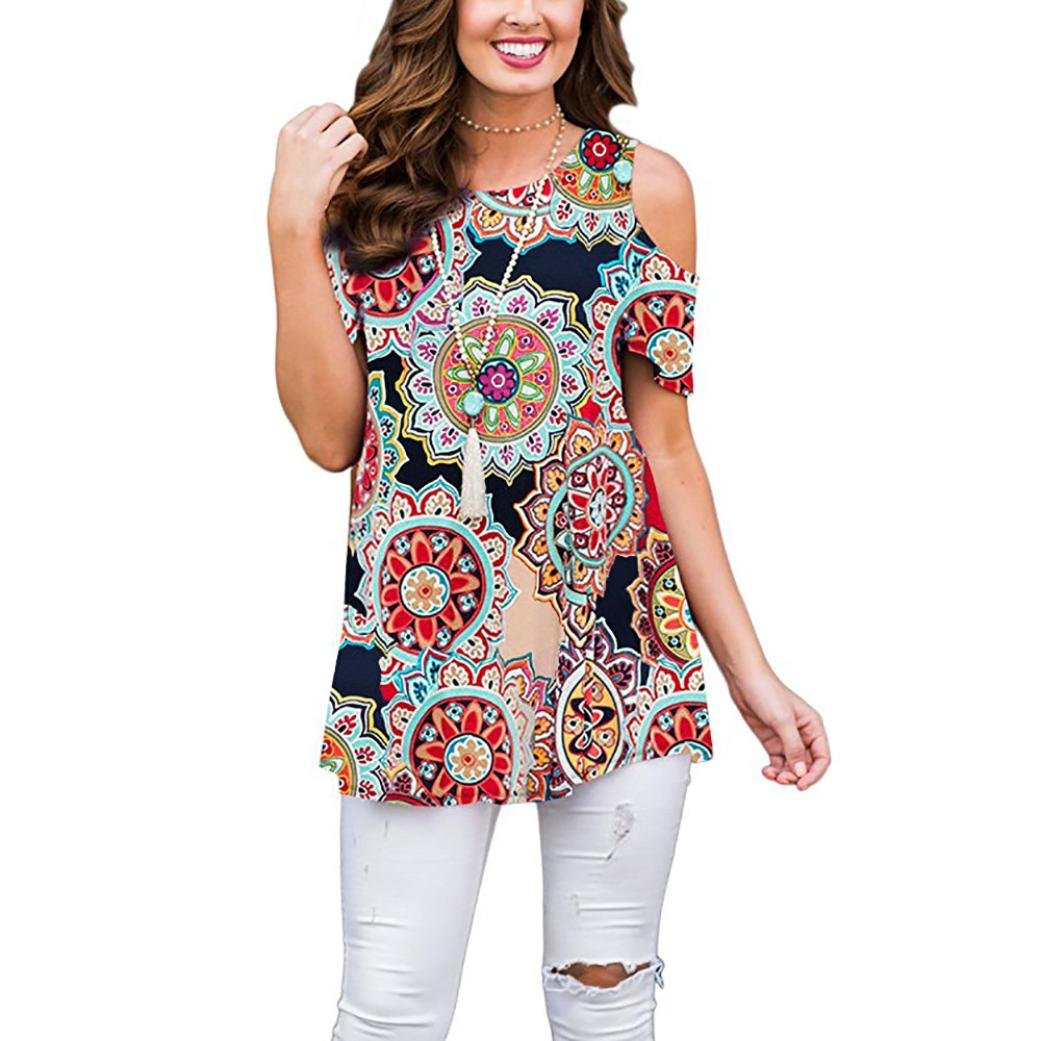 Summer T-Shirt Women Blouse Ladies Tops Flowers Cold Shoulder Round Neck Tank Casual