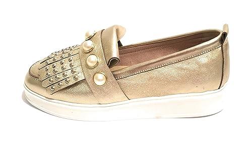 Pixy - Mocasines de Cuero para Mujer Dorado: Amazon.es: Zapatos y complementos