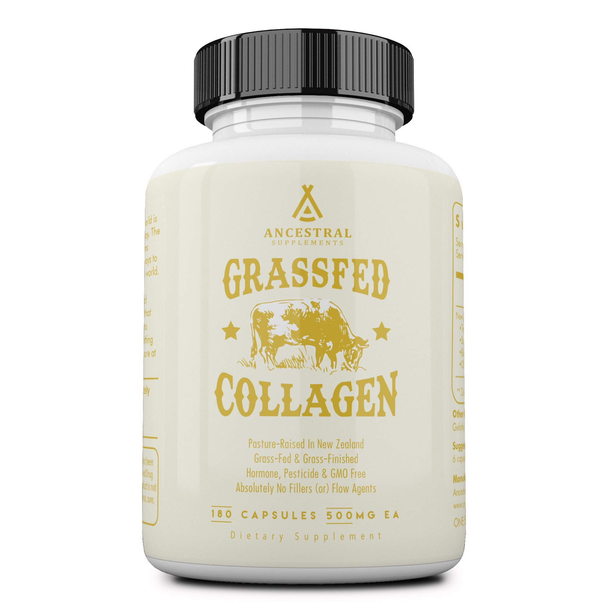 Ancestral Supplements Grass Fed (Living) Collagen-Supports Joints, Marrow Bones, Cartilage, Skin, Hair, Nails (180 Capsules) by Ancestral Supplements