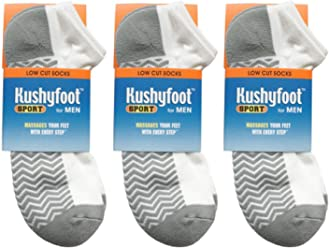 separation shoes c0863 a2c4a Kushyfoot Men s Sports Low Cut Socks, White Grey (Pack of 3 Pairs)