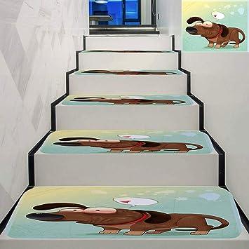 Paquete de 5 alfombrillas de franela para escalera con diseño de colores impresos, antideslizantes, para escaleras de niños, ancianos y perros: Amazon.es: Bricolaje y herramientas