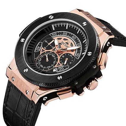 Relojes de Hombre Chronograph Leather Luxury Sport Watch De Hombre Para Caballero Elegante RE0102