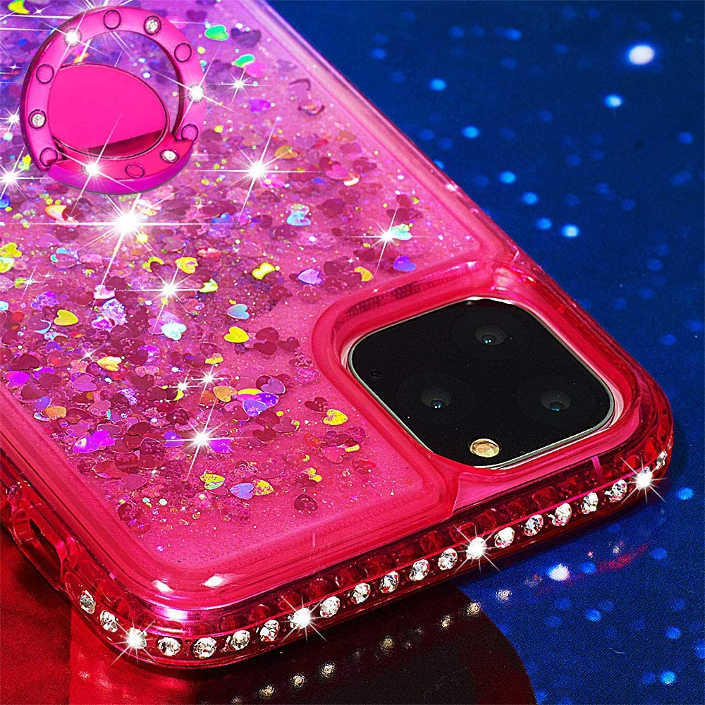 LCHDA Handyh/ülle H/ülle f/ür iPhone 11 Glitzer Fl/üssig mit Ring,Glitzer Silikon Durchsichtig Fl/üssigkeit Fliesende Bewegung Wasser Sterne Halterung Schutzh/ülle Handytasche-Grau Pink