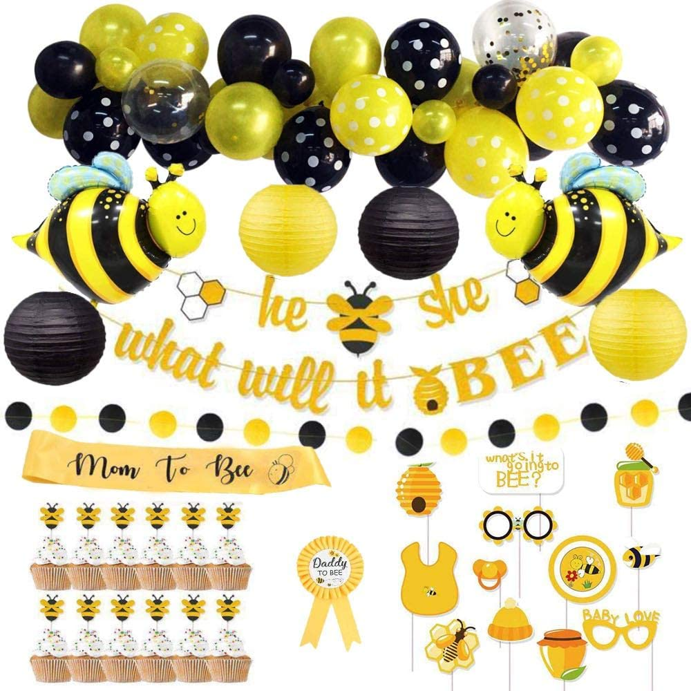 Bee Baby Shower Decorations for Girl, Boy, Gender Neutral | Gender Reveal Party Supplies | Bumble Bee Decor Set with Balloon Garland Kit | What Will It Bee Banner | Photo Props | Cup Cake Toppers | Mom to Bee Sash | Dad to Bee Batch | Bee Shape Foil Balloons | Paper Lanterns