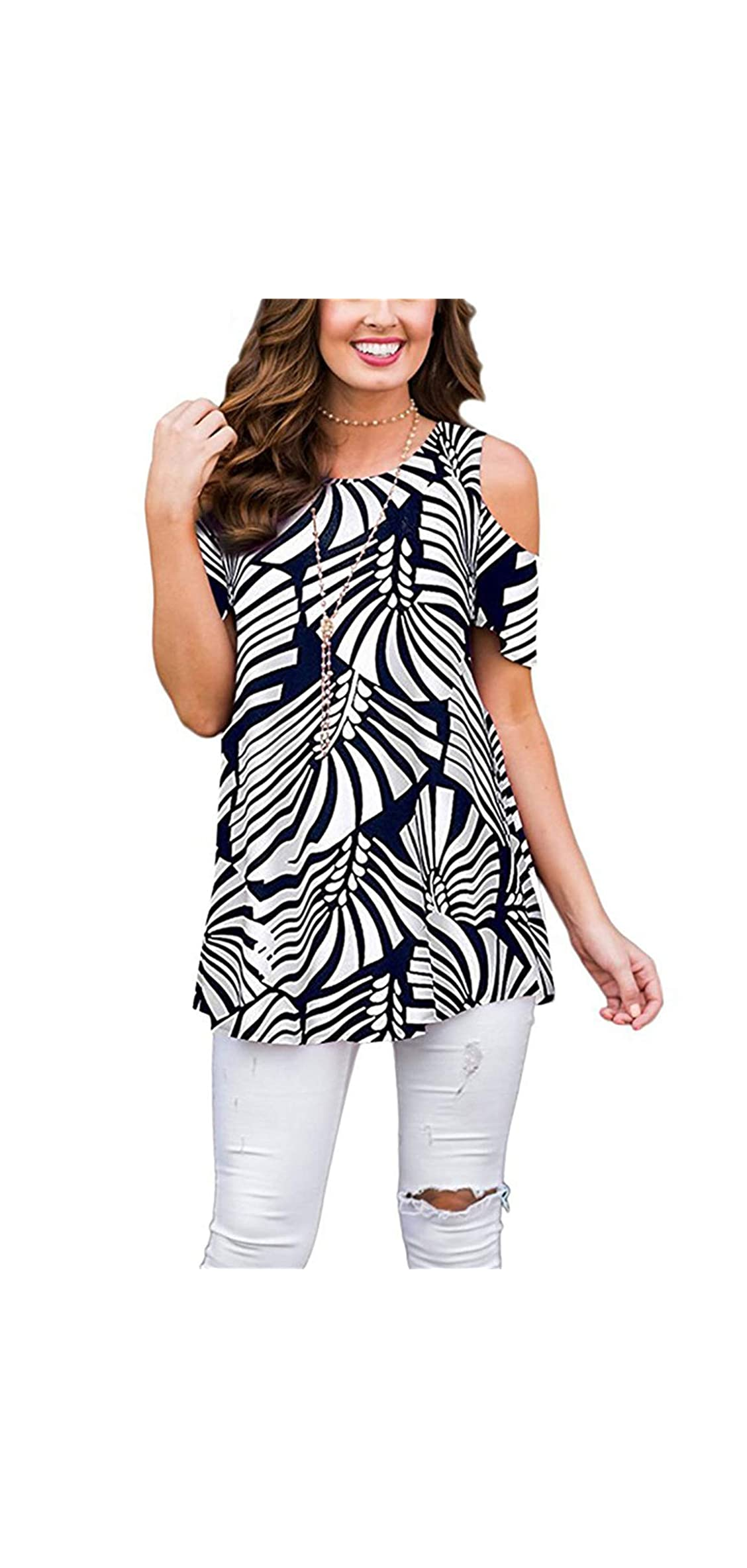 Womens Cold Shoulder Shirts Short Sleeve Casual Floral