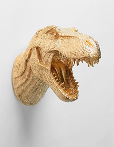 White Faux Taxidermy Gold Dinosaur Head Wall Mount, The Wilbur, T rex