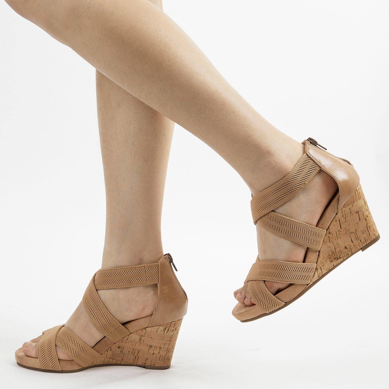 TOETOS Women's Solsoft_15 White Low Platform Wedges Back Zipper Sandals Size 8.5 B(M) US by TOETOS (Image #7)