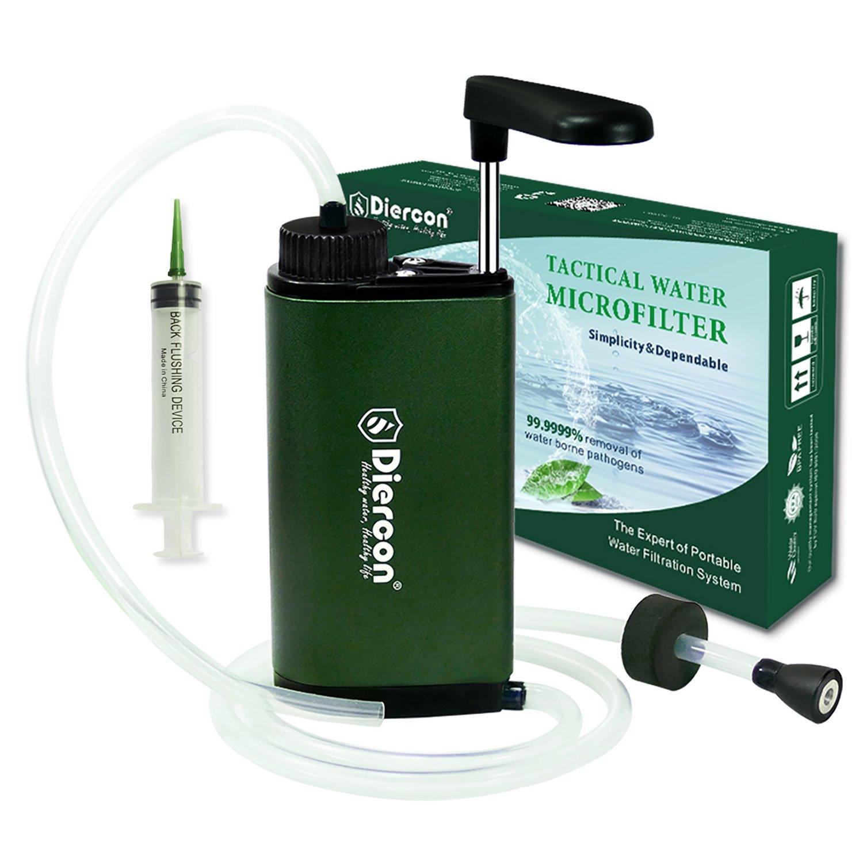 745061cd5e Diercon Tactical Water Microfilter -Upgraded Aluminium Monocoque Body, Portable  Water Filter Pump.