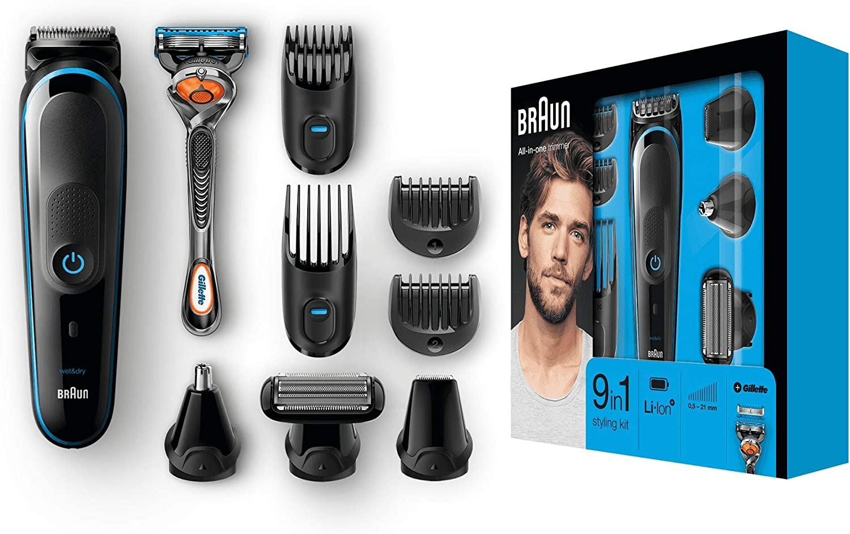 Braun MGK5080 - Recortadora de barba 9 en 1, máquina cortapelos hombre, recortador de vello, nariz y orejas, para detalles, afeitadora corporal