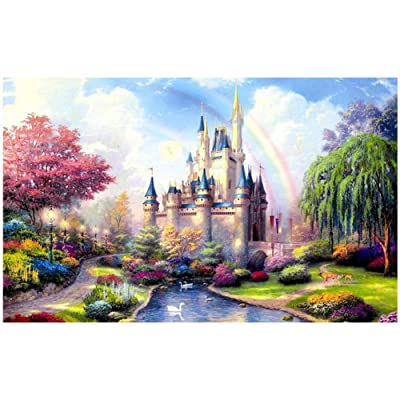 Puzzles for Adults 1000 Piece Large Puzzle, Dreamy Landscape Fantasy Castle Jigsaw Puzzle: Toys & Games