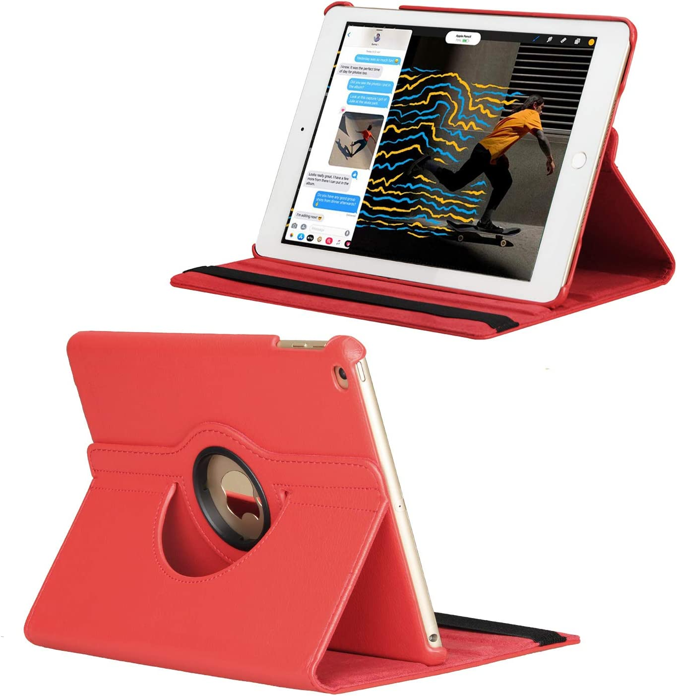 Zerobox Apple iPad 2018 9.7/2017 9.7/iPad Air 2/iPad Air 9.7 inch Case,360 Degrees Rotating Multi Angles Screen Protective Stand with Auto Sleep/Wake Smart Cover (Red) Red