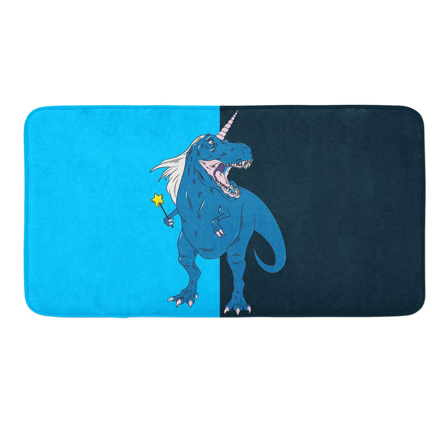 CIGOCI Non-Slip Memory Foam Bath Rugs, 3D Print Unicorn Dinasaur - 18 x 36 Inch, Extra Absorbent,Soft,Duarable and Quick-Dry Shaggy Rugs