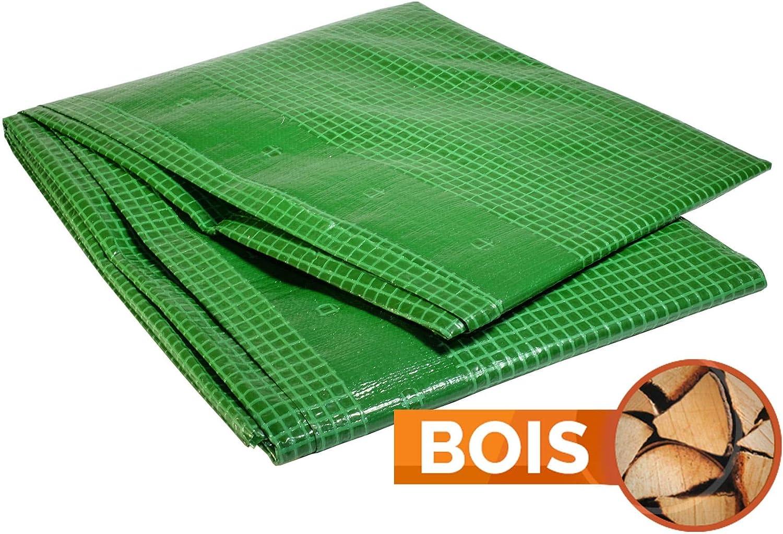 B/âche Bois 170 g//m/² 4 x 10 m bache a Bois Bache Verte- bache Exterieur