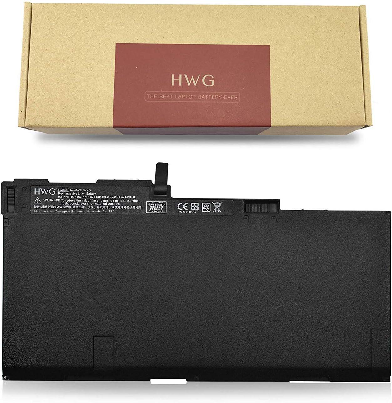 HWG CM03XL Battery Compatible HP EliteBook 740 745 750 840 845 850 G1 G2 Series 717376-001 CO06 CO06XL HSTNN-IB4R HSTNN-DB4Q HSTNN-LB4R HP ZBook 14 [11.1V, 50Wh]