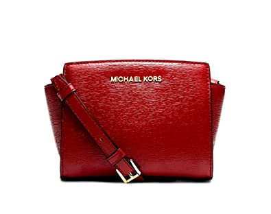 b491b30b2fae Image Unavailable. Image not available for. Color: Michael Kors Mini Selma  Crossbody Bark Patent Saffiano Leather Red