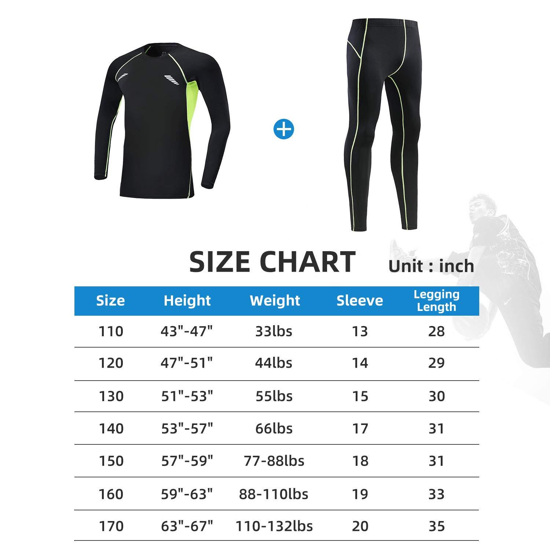 Tesuwel 2//3//4 Pcs Boys Base Layer Compression Leggings and Shirts Thermal Underwear Set Running Pants Tights