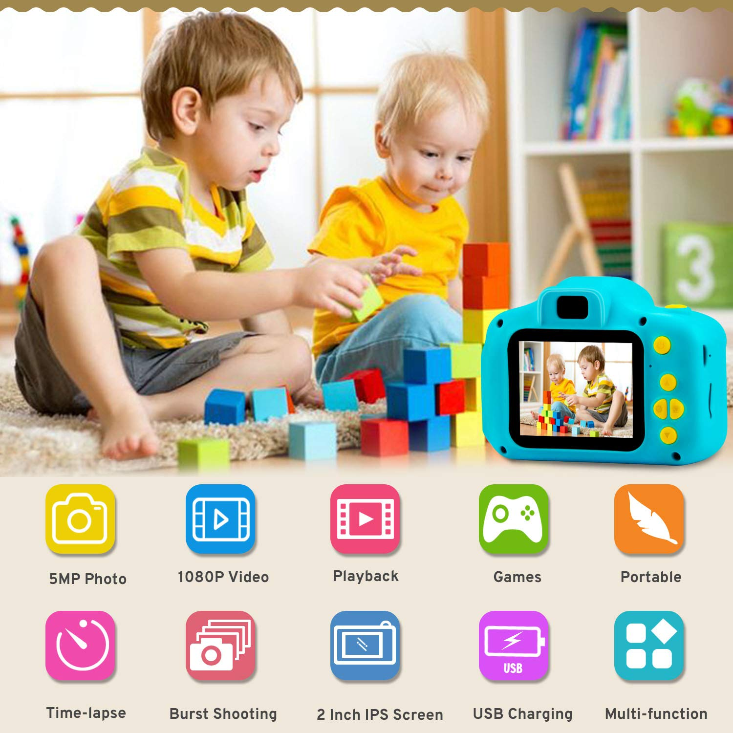 Prograce Kids Camera Children Digital Cameras for Boys Girls Birthday Toy Gifts 4-12 Year Old Kid Action Camera Toddler Video Recorder 1080P IPS 2 Inch