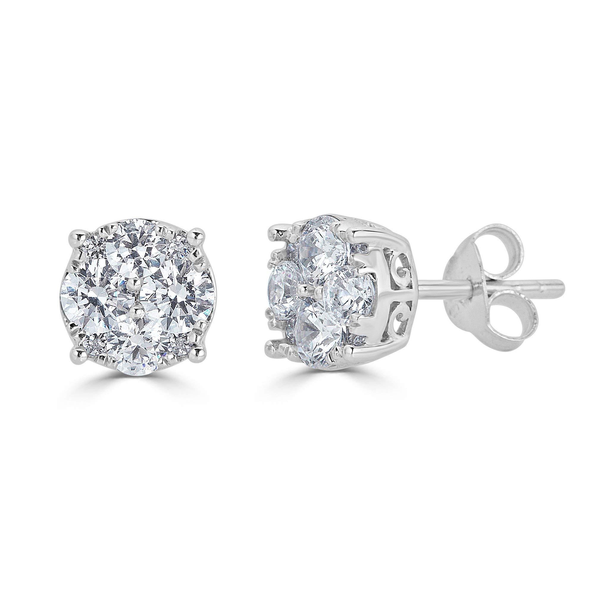 1/4Ct Women Round Diamond Stud Earrings Set In Sterling Silver