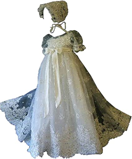 Portsvy Baby Ivory Lace Christening Gowns Baptism Gowns with Bonnet