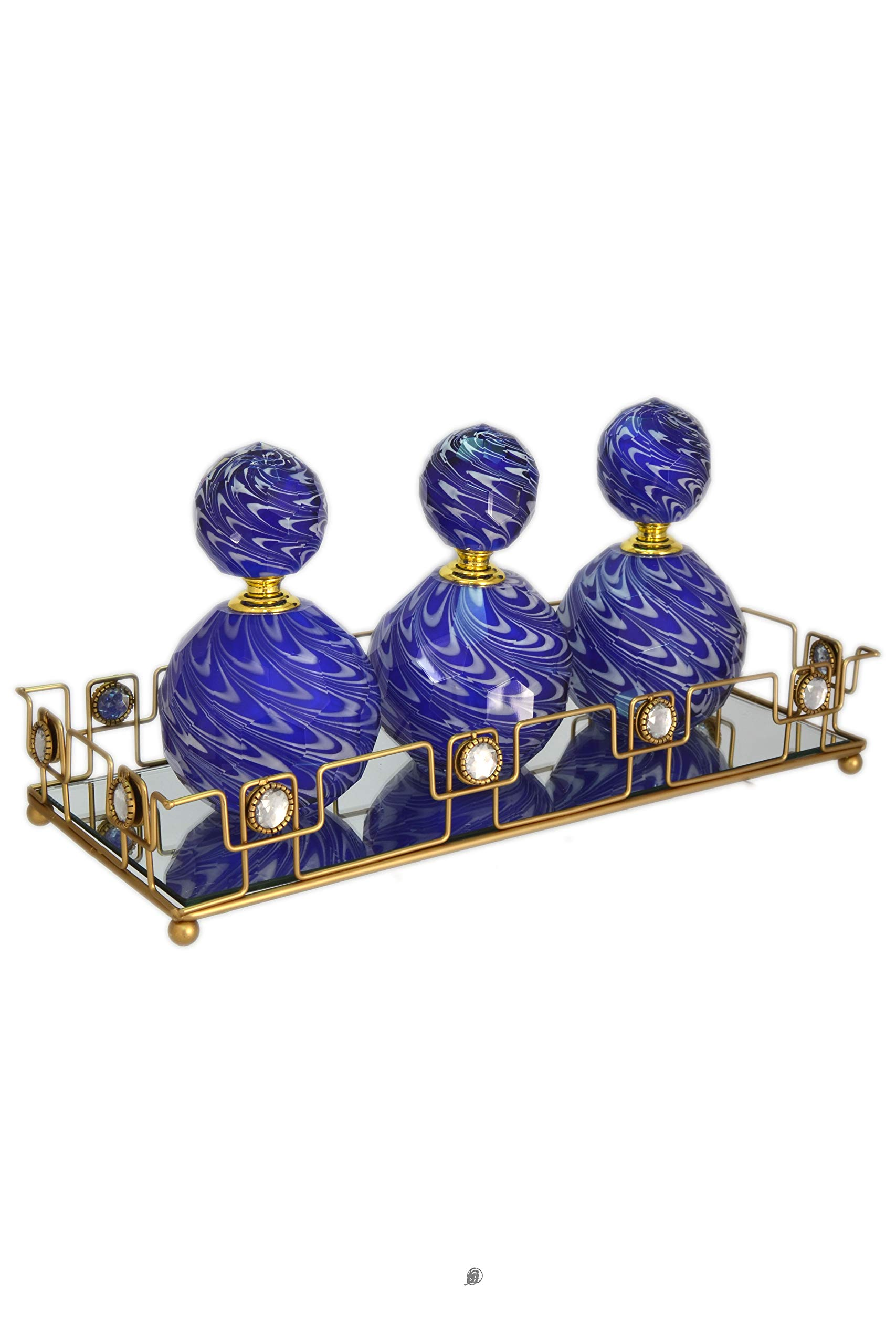 American Chateau 3 Cased Crystal Perfume Bottles on Gold Metal Frame Mirror Table Vanity Tray Set