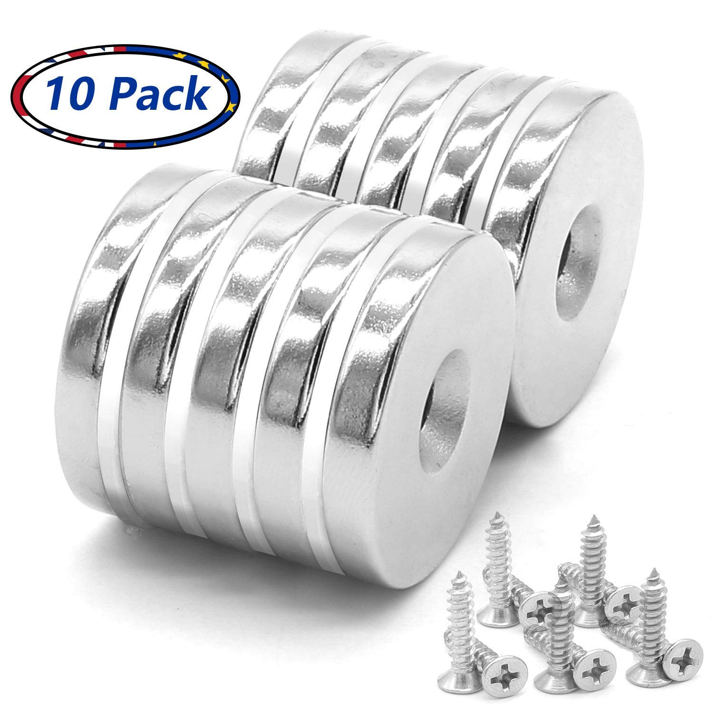 Imanes de agujero avellanado de disco de neodimio de 10 unidades, imanes fuertes, permanentes, de tierra rara 30 mm x 5 mm, con 10 tornillos