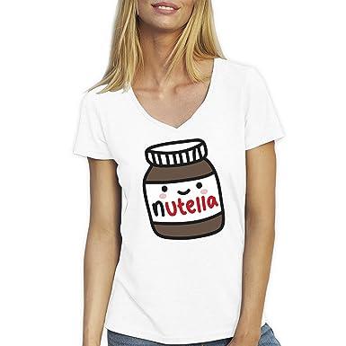 Small Weiße Bees Damen Friendly Mit T Ausschnitt V Shirt Für Nutella Happy qF6tP
