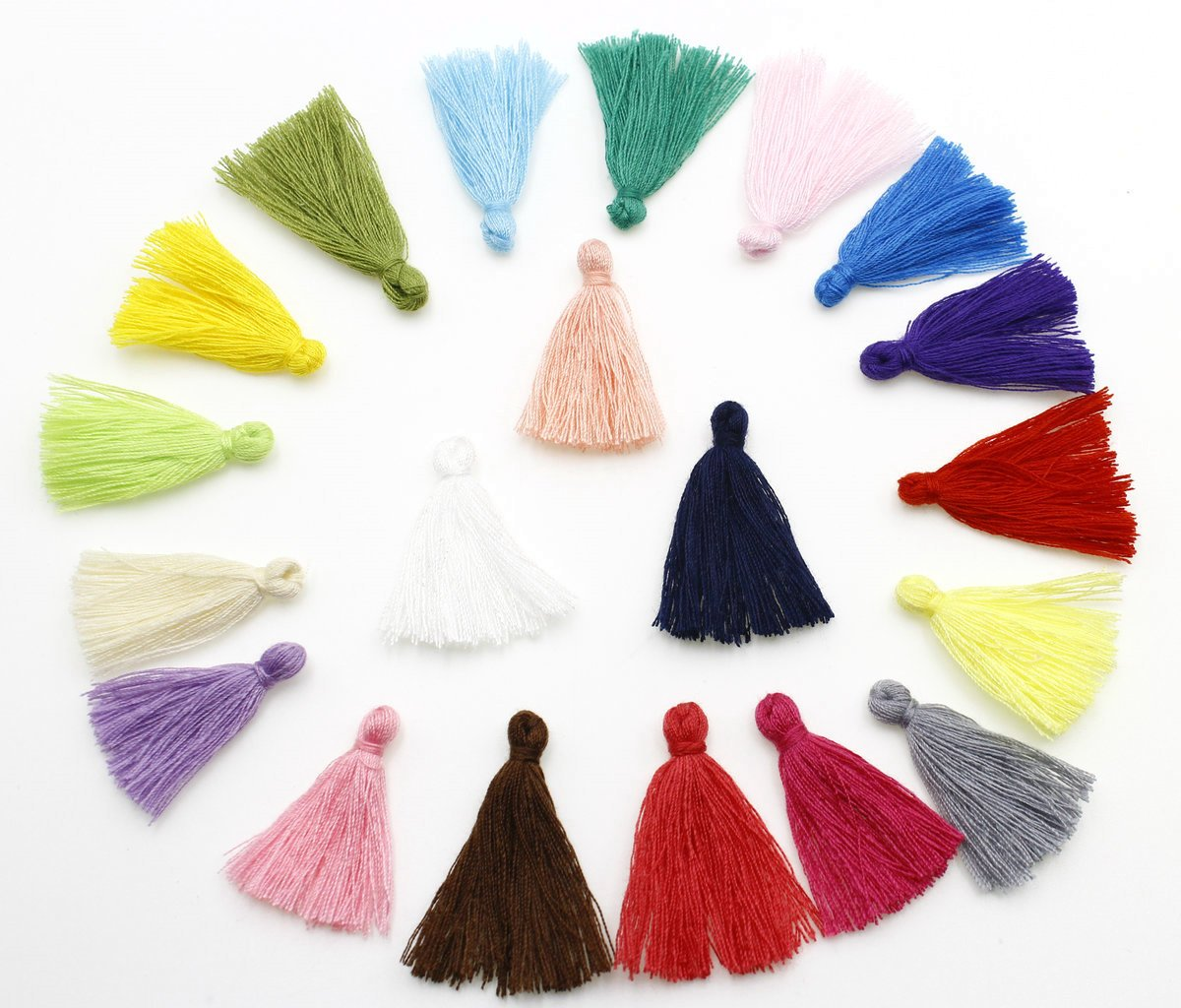 QianCraftKits Tassels Pendant Multi-Color Handmade Long Cottons Decorations, DIY Craft Supplies for Keychains, Jewelry Making, Earing or Bookmarks and Necklace(300pc, 20colors)