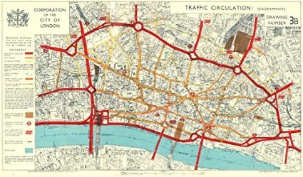 Map City London.Amazon Com City Of London Post War Reconstruction Plans Traffic
