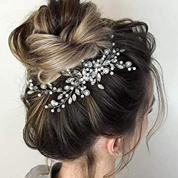 Crystal Bride Hair Comb Sliver Pearl Wedding Bridal Hair Piece Rhinestone Hair