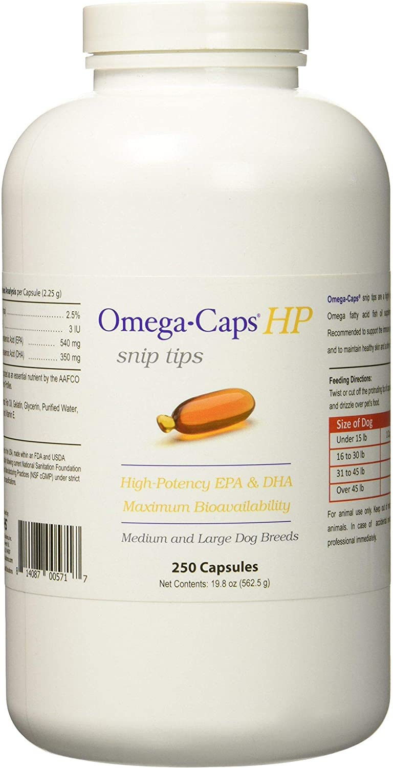 PHS Omega-Caps High-Potency (HP) Snip Tips for Medium and Large Dogs - Omega-3 Fatty Acids, Vitamins, Antioxidants - Supports Immune System, Joints, Heart, and Brain - Made in USA - 250 Capsules