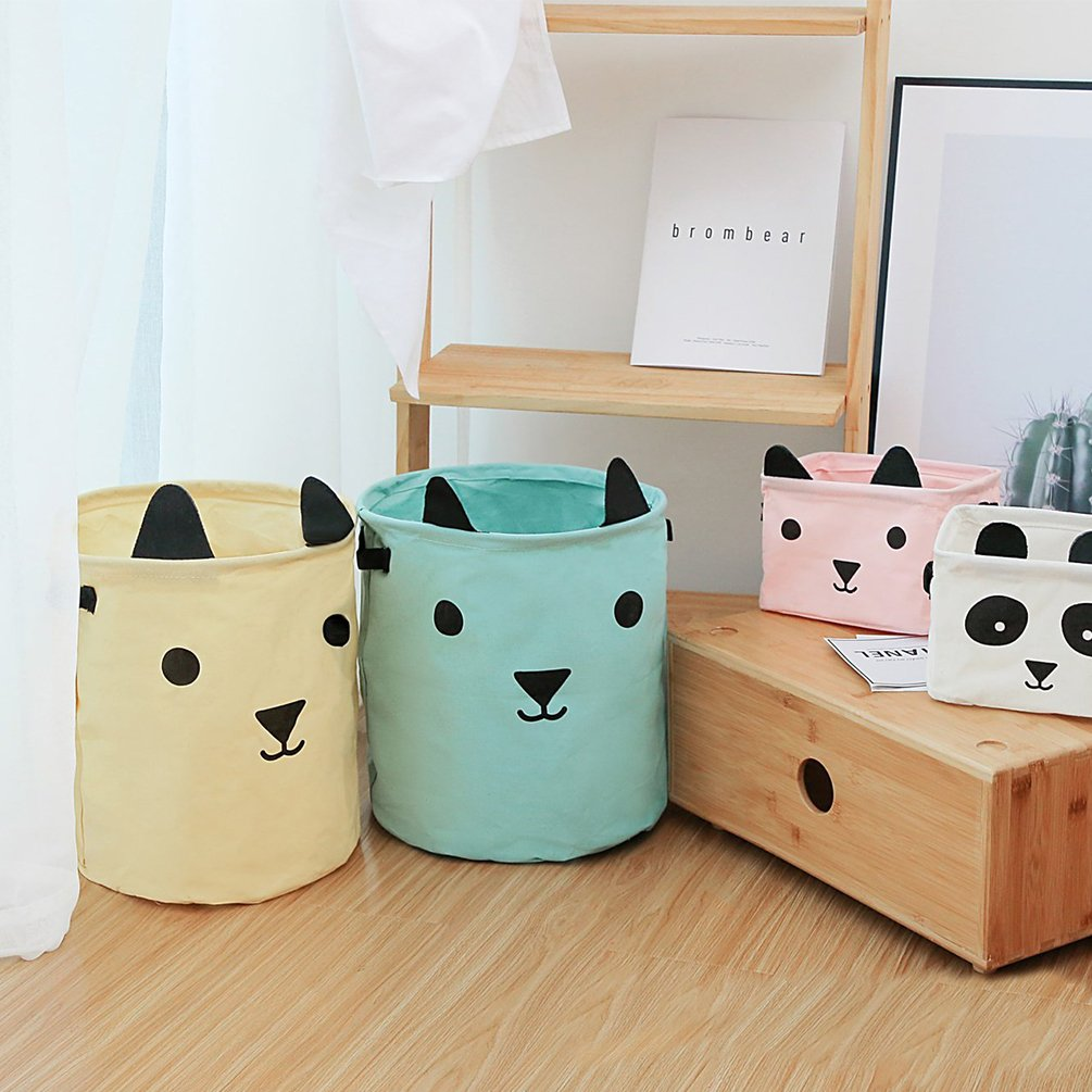 Gift Basket Baby Clothes Inwagui Foldable Nursery Laundry Storage Basket with Handles Cartoon Animals Storage Bins Organizer for Kids Toys Yellow