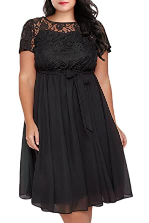 Nemidor Women s Scooped Neckline Floral lace Top Plus Size Cocktail Party  Midi Dress (14W 3b071efc6462