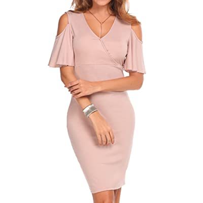 Aceshin Women's Cold Shoulder Ruffle Sleeve Cross V Neck Ruched Dress Bodycon Party Club Wrap Dress