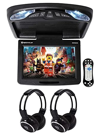 Rockville RVD12HD-BK 12 Black Flip Down Car Monitor DVD USB Player Headphones