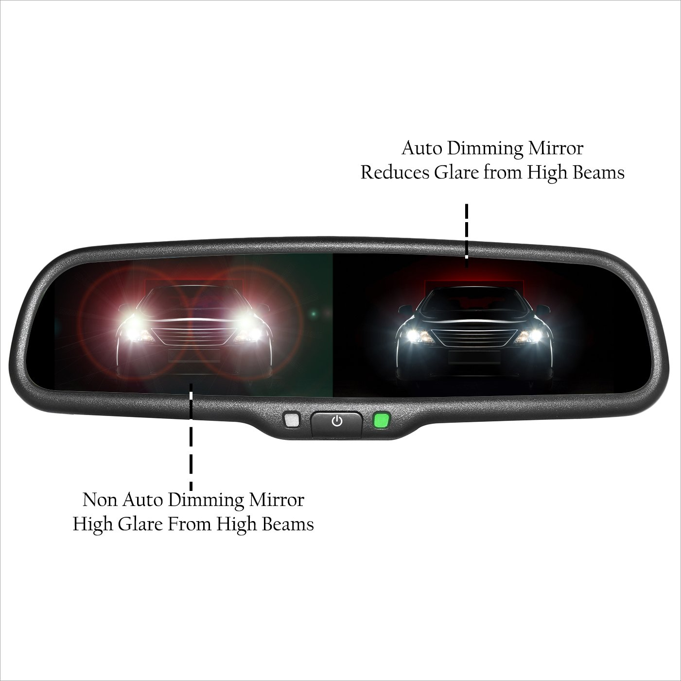Auto-dimming mirror with compass (if equipped)