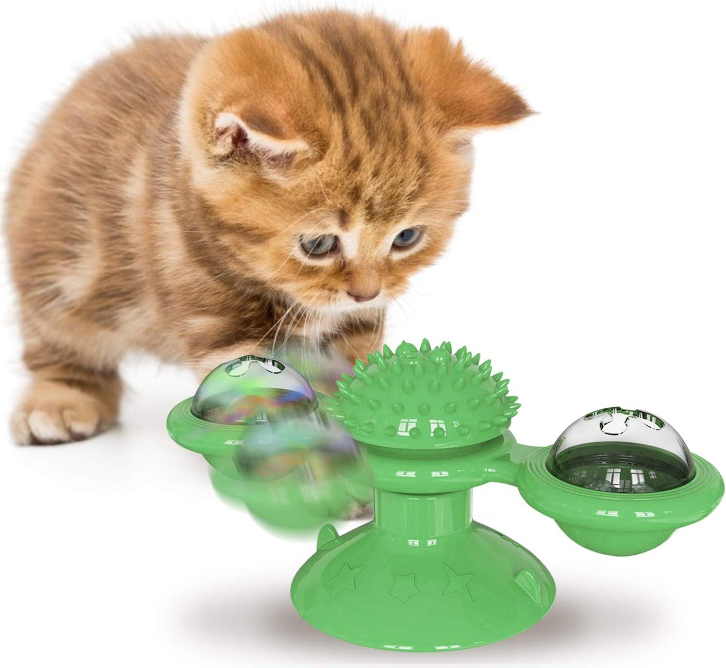 Automoness Juguetes para Gatos con Hierba Gatera,Windmill Cat Toy,Juguete Interactivo para burlas de Tocadiscos Cat, Bola de Molino de Viento de Gatito divertid (Verde): Amazon.es: Productos para mascotas