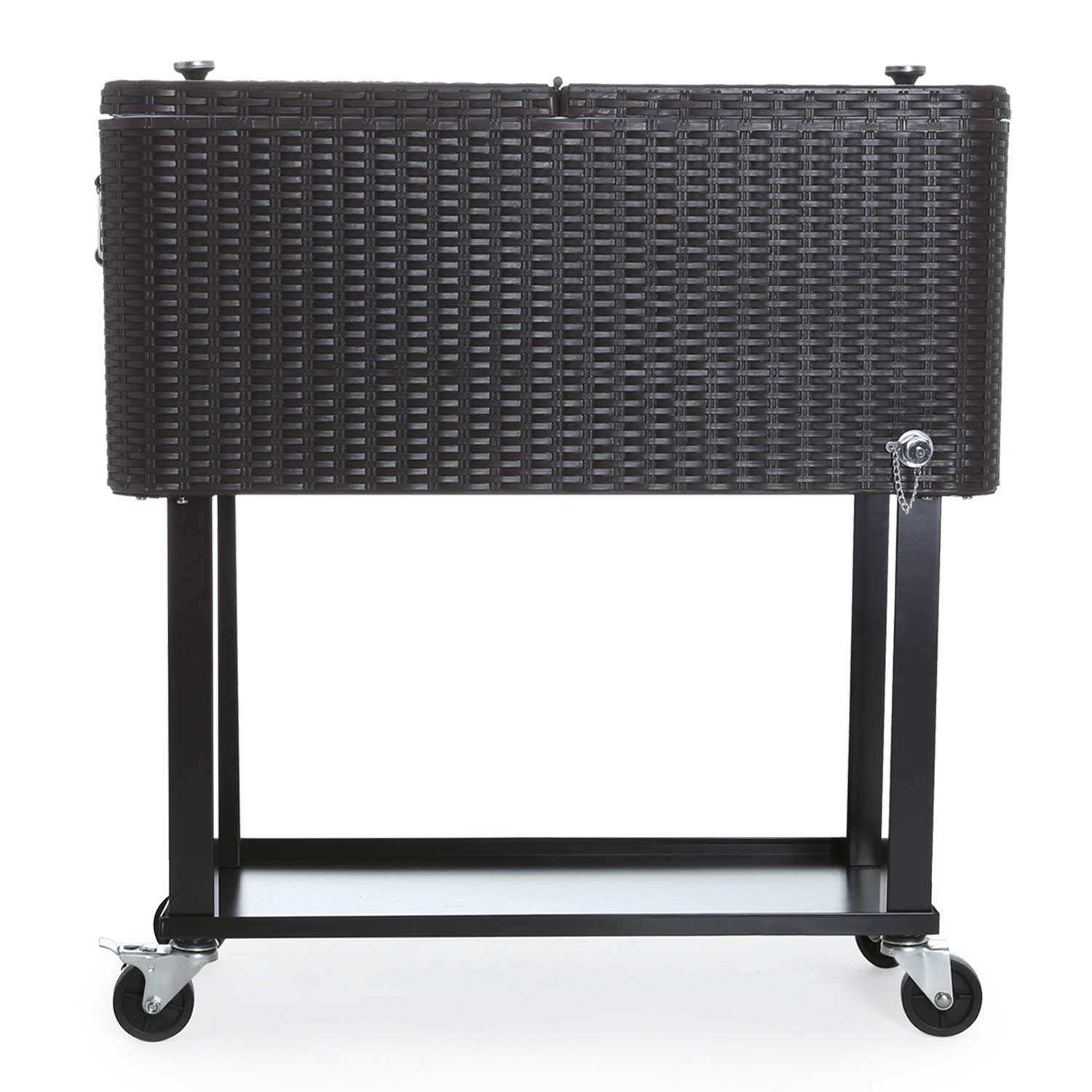 CAIDE-STORE with a Free Cover 80 Quart Outdoor Portable Cooler Patio Ice Chest Cooler Cart on Wheel by CAIDE-STORE (Image #4)