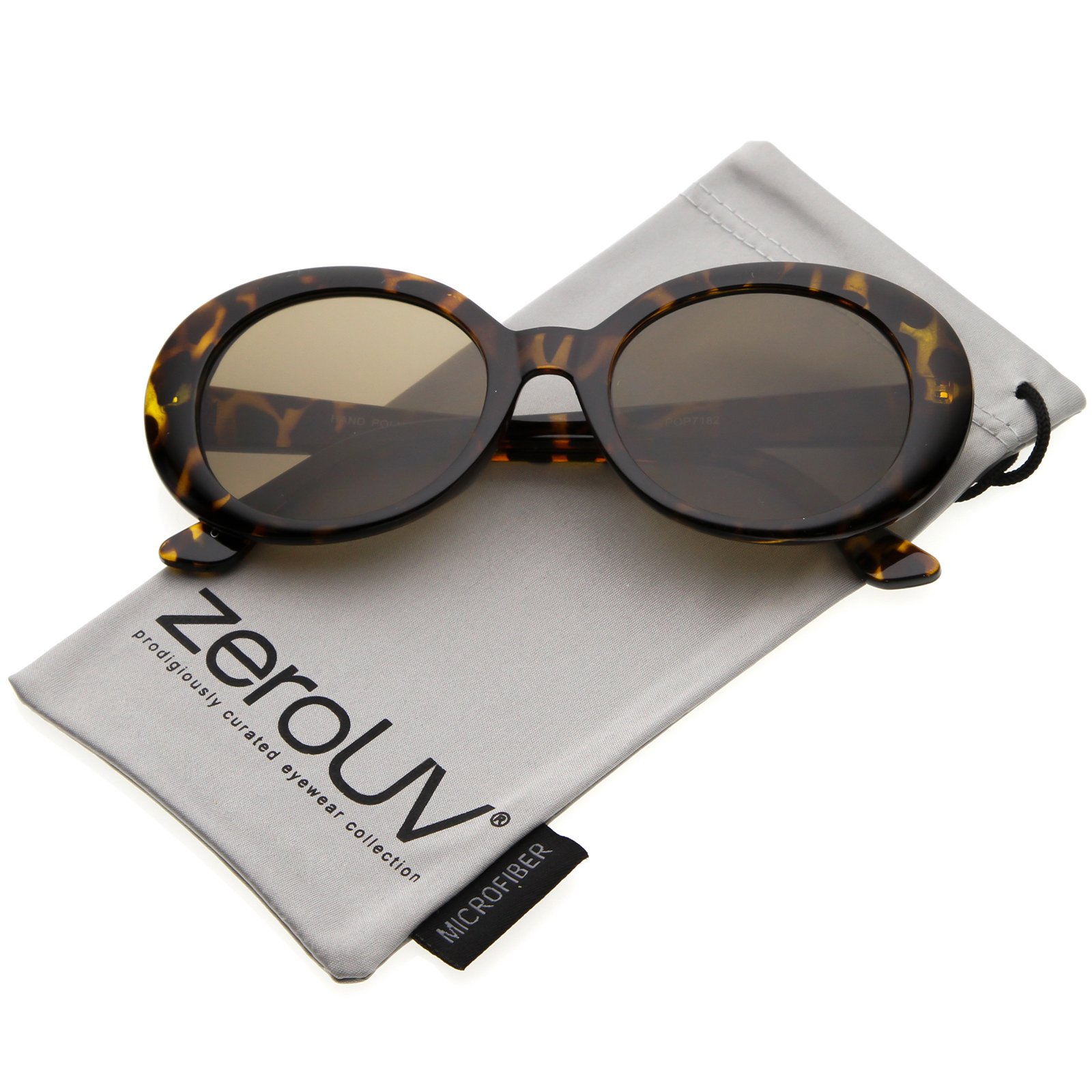 cfa23b19835 zeroUV - Large Clout Goggles Thick Oval Frame Sunglasses with Round Lens  53mm (Tortoise Brown)