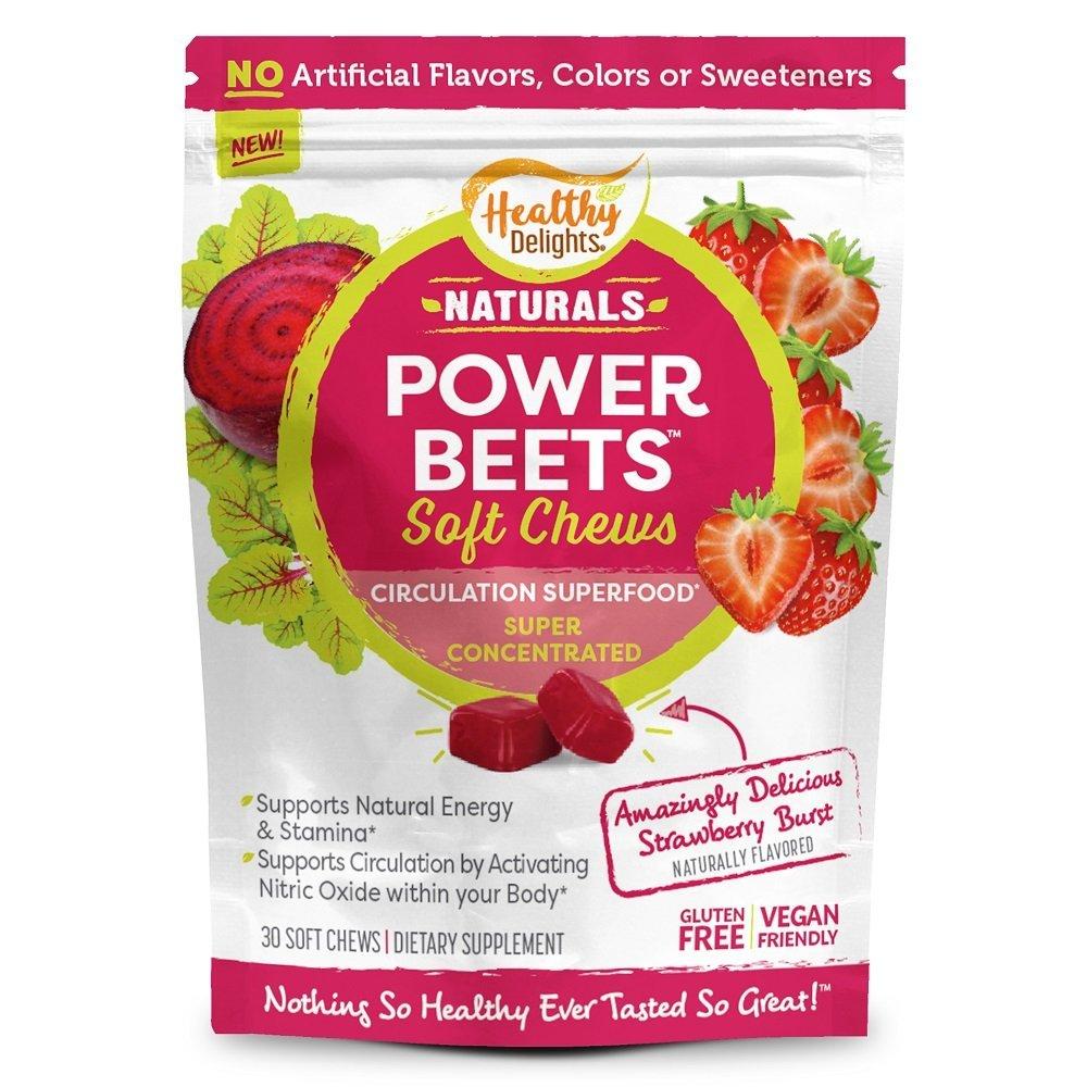 Healthy Delights Power Beets, Super Concentrated Beet Root Soft Chews, Circulation Superfood, Boosts Naturally Energy, Delicious Strawberry Burst Flavor, 30 Servings by Healthy Delights