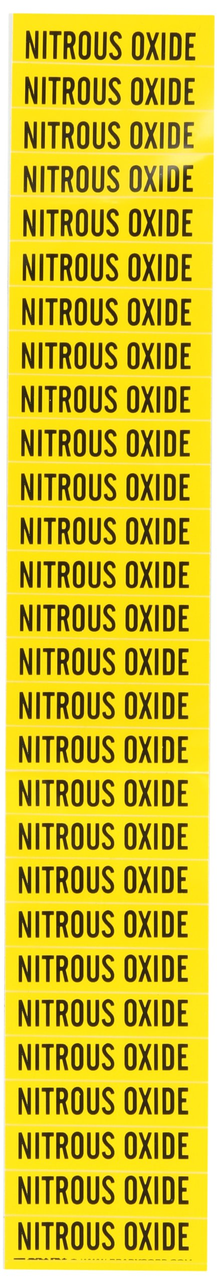 Brady 91951 Semiconductor & Chemical Pipe Markers, B-946, 1/2'' Height X 2 1/4''W, Yellow On Black Pressure Sensitive Vinyl, Legend ''Nitrous Oxide''