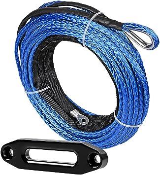 Synthetic Winch Lift Rope Line Cable Black Hawse Fairlead for Snow Plow SUV ATV UTV Vehicle Boat Ramsey Car 1//4 x 50 7000 LBs w// 39 Rock Guard Sheath, Blue