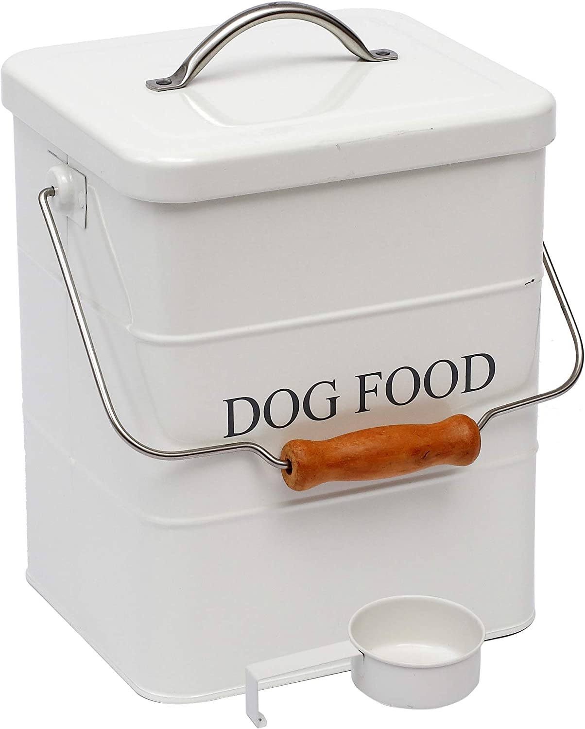 Morezi Pet Treat and Food Storage tin with lid and Scoop Included - White Powder - Carbon Steel - pet Food bin - Storage Canister tins